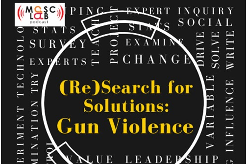 "word cloud at right angles with masclab podcast logo in corner, circle surrounding ""(Re)search for Solutions: Gun VIolence"" in yellow text within curving rectangle at top and being cut off on bottom"