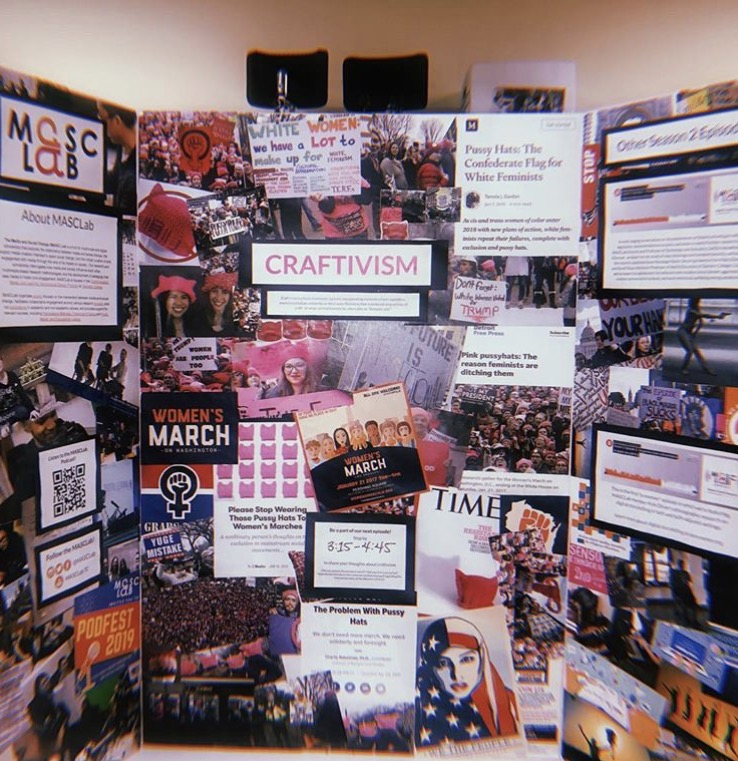 Image of the tri-fold conference poster. the left hand side of poster says MascLab and the center says Craftivism the right hand side includes other images from MascLab podcasts. The entire poster is covered in collage images related to the MascLab and various media projects.
