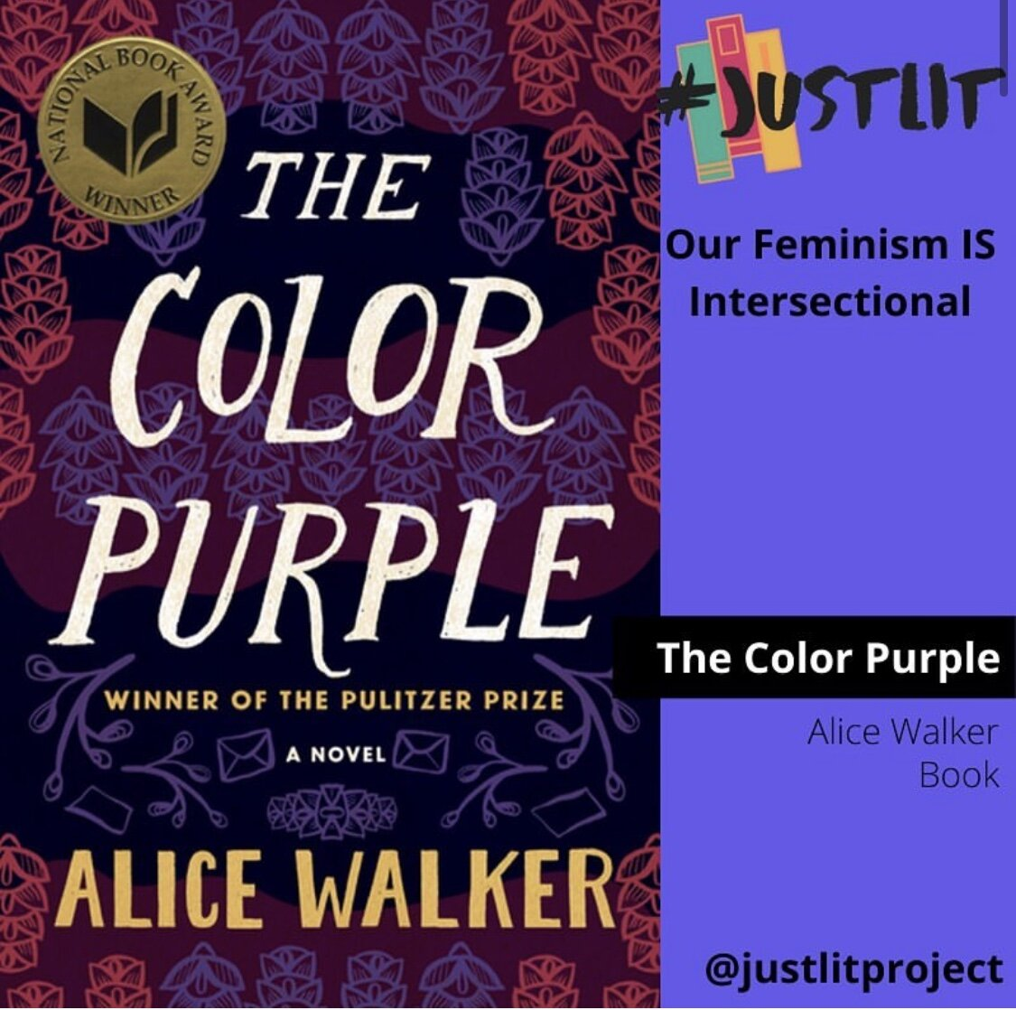 image of the book cover for The Color Purple by Alice Walker from the @justlitproject social media page