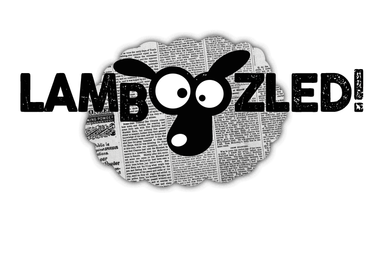 LAMBOOZLED! Logo - sheep face in the word lamboozled over cloud shaped cut-out of a newspaper