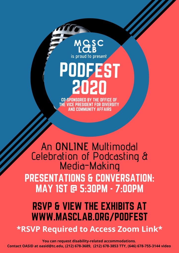 A flyer for Podfest - Info repeated in site above