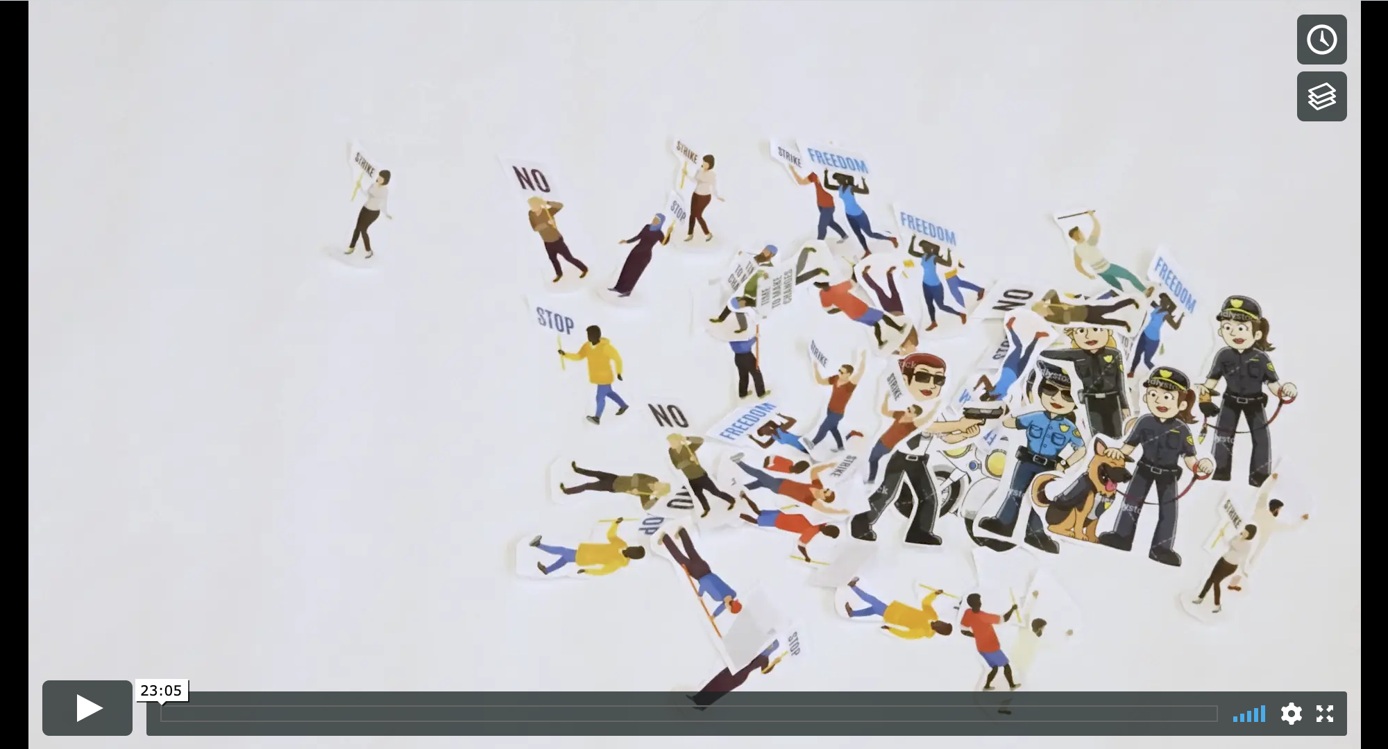 "image of a paused vimeo video which shows a group of animated people clumped together towards right hand side of screen. The people are holding signs which say ""no"" or ""freedom"""