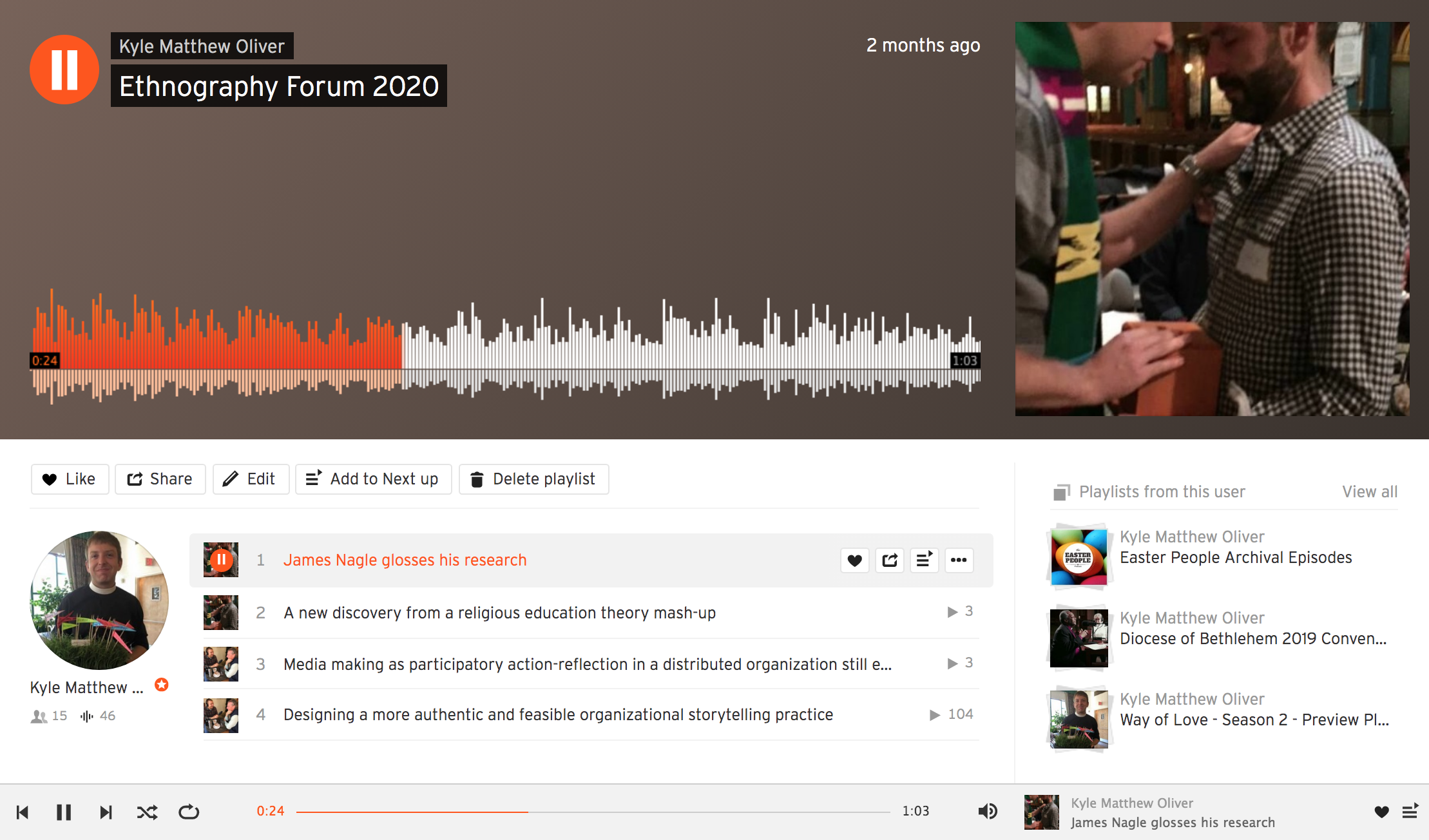 A screenshot of the SoundCloud playlist of clips from Ethnography Forum.