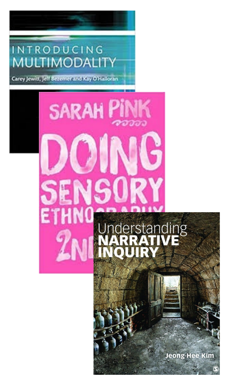 "Screenshots of the covers of the books ""Introducing Multimodality,"" ""Doing Sensory Ethnography,"" and ""Understanding Narrative Inquiry."""